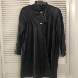 Siena Studio Black Leather  jacket.  3/4 length.